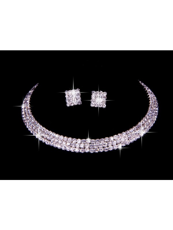 Great Tchèque Faux diamants Wedding Colliers Des boucles d'oreilles Set